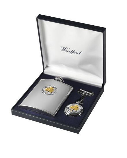 'Shamrock' Matching Flask and Pocket Watch Set